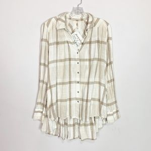 Free People | plaid button down tunic top tan S